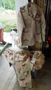 Military Desert Camouflage Fatigue Trousers, Sizes Medium And Large, Qty 9; And Medium And Large Blouses, Qty 10