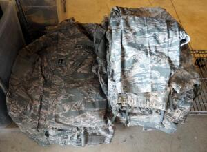 Universal Camouflage Pattern Army And Air Force Fatigues, Size Medium Blouses (Qty 8), And Sizes Medium To Large Trousers (Qty 17)