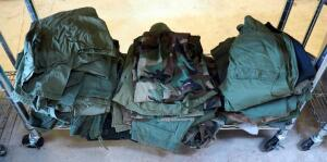 Military Clothing Assortment Including Fatigue Blouses And Trousers, Cold Weather Gear, And More