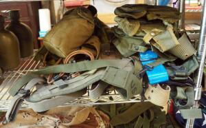 Military Utility Belts Assorted Types And Styles, Including Backpack Frame