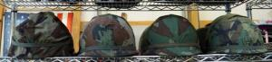 Military Helmets With Woodland Camouflage Covers QTY 4