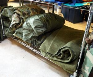 Military Issue Sleeping Bag, Liners, Covers, And Wool Blankets, Contents Of Shelf