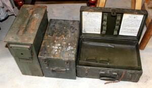 Military Storage Boxes Including Metal Ammo Can, Wood Box, And Barber Kit Case
