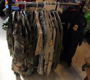 US Military Dress Blouses, Fatigue Blouses, And More, Contents Of Lower Rack Assorted Sizes