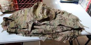 US Military OCP Camouflage Fatigue Blouses Qty 3 Size Medium, Trousers Qty 2 Size Medium, Cap, And Cold Weather Jacket