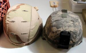 Military Combat Helmets Sizes M-8 & L11D With Helmet Pads, Covers, And Straps, Qty 2
