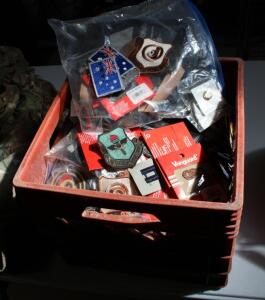 Military Patches, Pins, Ribbons, Rank, And More, Contents Of Milk Crate