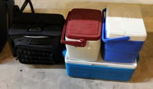Insulated Cooler Assortment Including Soft Sided Tote, And Coleman Coolers, Total Qty 4