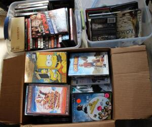 DVD Collection Large Variety Of Genres, Contents Of 2 Totes And Box
