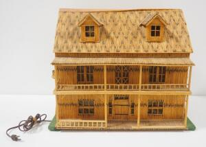 "Tramp Art Matchstick 2-Story House, Roof Opens To See Interior, Illuminated, Powers On, 1,356 Matches On Roof Alone, 17"" High x 20"" Wide x 13"" Deep"