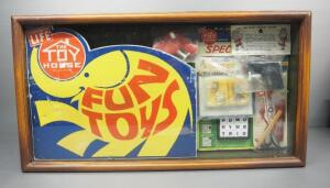 "Vintage ""The Toyhouse"" Fun Toys Sampler Display Box, Includes Squirt Guns, Puzzle, Airplane And Scatter Pins"