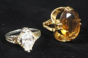 18k HGE Gold Ring, Size 5-1/2, With Amber Colored Stone, 6g Including Stone, And 18k GE Ring, Size 7, With Clear Stone, 3.4g Including Stone