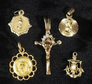 Christian Themed Pendants, Some Marked 14k And 10k, Includes Crucifix, Mariner's Cross And Circular, Total Qty 5