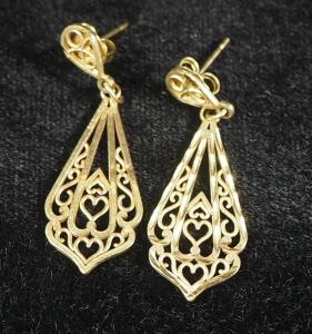 Pair Of Gold Earrings, Marked 10k 417 On Backing