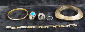 Silver Jewelry, Some Marked Mexico 925, Others Believed To Be Silver Though Not Marked, Includes Bracelets And Rings, Total Qty 6