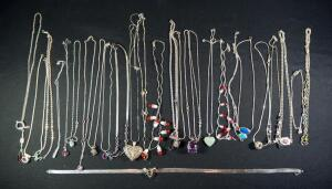 Sterling Silver Necklaces, Most Marked 925 Or Sterling, Various Lengths And Sizes, All With Pendants (Various Colors And Styles), Approx Qty 27