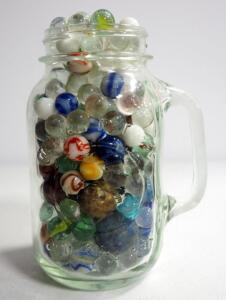 Marble Collection, Uncountd, Various Sizes And Colors, In Golden Harvest Drinking Jar