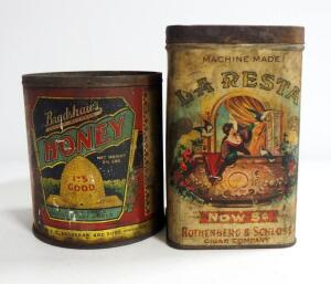 Antique Tin Cans From Rothenberg & Schloss Laresta Cigars And Bradshaw's Honey