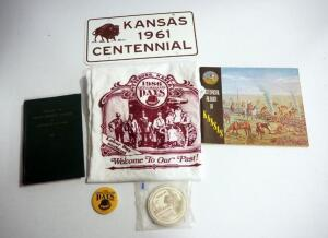 Kansas History Collection, Includes 1961 Centennial License Plate, Coasters, Historic Album, History Book, And 1986 Little Balkans Days Shirt And Pin