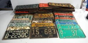 Vintage Kansas License Plate Collection, 1930s-1970s, Approx Qty 80