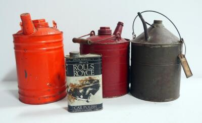 Vintage Metal Oil Cans, Qty 3, 1 Marked Martin Ware, And Rolls Royce Car Polish Can