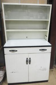"Vintage Metal Cabinet With 2-Shelf Hutch, 1 Drawer, 2 Door Lower Storage Area, 1 With Sliding Glass Door, Hutch Can Be Removed 66"" H x 36"" W x 20"" D"