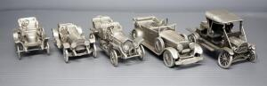 Danbury Mint Pewter Model Cars, Qty 5, See Description For Models