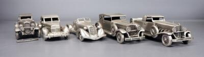 Danbury Mint Pewter Model Car Collection, Qty 5, See Description For Models