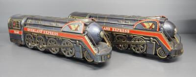 Modern Toys Battery Operated Overland Express Tin Locomotives, 1 Missing Rear Door, Qty 2
