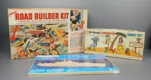 Collection Of Builder Hobby Kits, Includes Rube Goldberg Animated Hobby Kit, Road Builder Kit (Unknown Completion), And Military Cruiser Puzzle