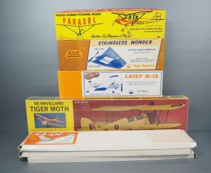 Wood Model Airplane And Hand Glider Kits, Includes De Havilland Tiger Moth NIB, Lacey M-10, Parasol And More