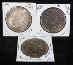 Morgan Silver Dollars, 1896 (2) And 1921, Total Qty 3