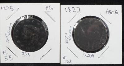 1825 And 1827 Coronet Liberty Large Cent