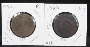 1828 And 1842 Coronet Liberty Large Cent