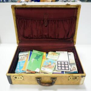 Vintage Horn Suitcase With Maps From Various U.S. Locations All Around The Country