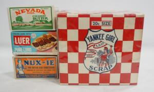 Collectible Vintage Boxes, Includes Yankee Girl Tobacco, Nevada Butter, Luer Lard, And Nux-ie Shortening