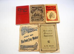 "Collection Of Antique ""Magic"" Books, Includes Young's Great Book Of Secrets, Practical Ventriloquism, Entertaining By Magic, And More, Total Qty 5"