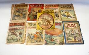 Antique Magazines, Includes Nick Carter, Wild West Weekly, Top Notch, Tip Top Weekly, Secret Service And More, All Have Wear On Pages, Total Qty 9