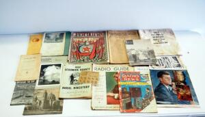 Antique And Vintage Paper Collection, Includes Fortune Magazine, Sedgwick County Rural Directory, Mileage Rations,Federal Reserve Bag And More