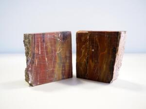 Pair Of Cut Stone Bookends, 2 Sides With Fabric