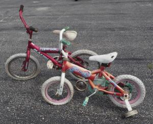 "Malibu Stardom 15"" Bicycle And Dora 11"" Bicycle, Both With Training Wheels"