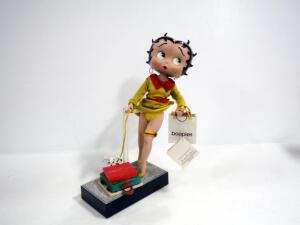 "Danbury Mint Betty Boop ""Shopping Spree"" Porcelain Collector Doll, With Dog, Shopping Bag And Gift Boxes"