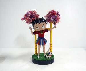 Danbury Mint Betty Boop Cheerleader Porcelain Collector Doll, With Dog And Pom Poms