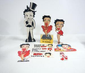 Betty Boop Paper Collectibles, Includes Tabletop Cardboard Standup, Bumper Stickers, Post Card And More