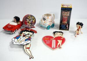 Betty Boop Collectibles, Includes Clocks Qty 2, Thermometer, Bobble Head Figurines Qty 2, Car Box Numbered 2,834/10,000A And More