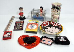 Betty Boop Collectibles, Includes Vase, Display Plate, VHS, Playing Cards, Figurines, Pouches And More