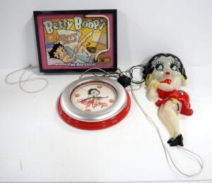 Betty Boop Wall Hangings, Includes Neon Sleep Time Sign, Dimensional Full Body Light And Neon Clock (All May Need Repair)
