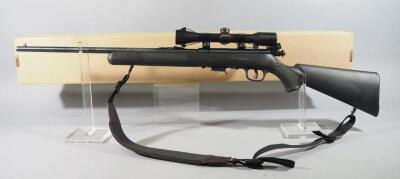 Savage Model 93 .22 WMR Bolt Action Rifle SN# 2001139, With Simmons 4 x 32 Scope And Padded Sling, In Original Box