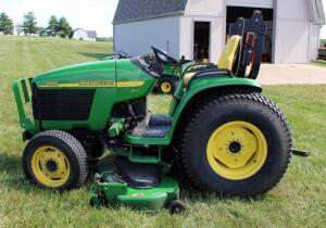 "John Deere 4410 eHydro Tractor With Roll Bar And Electronic OS, Hours Showing 64?.3, ID# LV4410H340051 Includes 72"" 7-Iron Belly Mower #DE18613, Tractor Tire Size 11.2-24 R1 , SEE VIDEO"