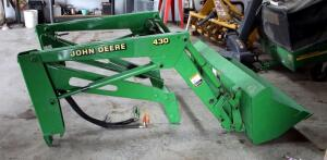 John Deere Hydraulic Loader Model # 430 With 5' Bucket , SN# W00430X040899, Bidder Responsible For Proper Removal
